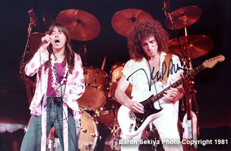 Steve Perry and Neal Schon of Journey playing at Blaisdell Arena in Honolulu. Circa 1981