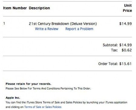Sample Apple iTunes Music Store receipt, notice the Hawaii general excise tax added.