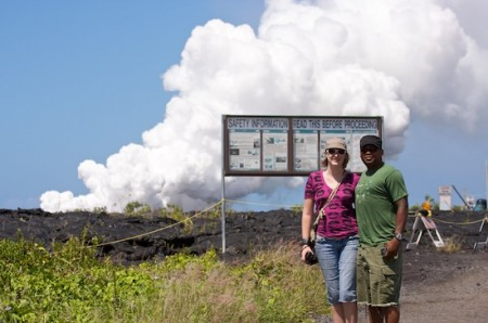 Andrea and Toby not quite at the lava flow entry into the ocean. The trail is off-limits during the day so a trek in the evening will be in the future.