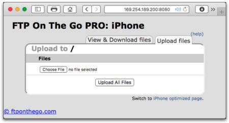 Using your desktop browser connect to the iPhone's web server. Don't type-in any spaces in the URL