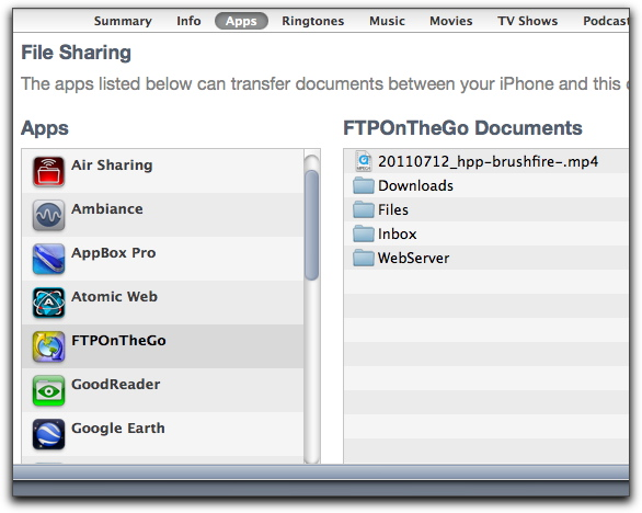 File Sharing with FTP On The Go