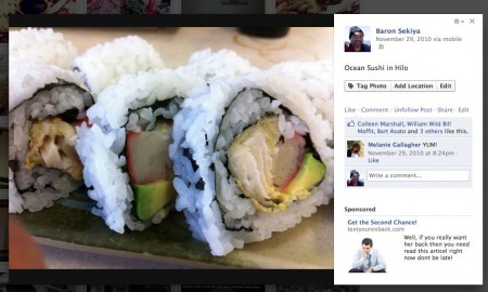 This is Facebook's redesigned photo viewer. They added a sidebar on the right for comments and ads. The problem is that horizontal images look like the right side of the photo has been chopped-off by the sidebar, like you're missing something. Bad design as it feels like it's choking the image.