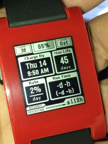 Over a month's worth of battery life on my original Pebble Watch. I put it into 'Airplane Mode' with the bluetooth radio turned-off. Normally you'd leave BT on but in a pinch and you don't have a charger handy you can still tell the time for over a month on a charge.