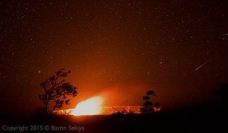 Kilauea Caldera with the glow from the lava lake in Halemaumau Crater. Photo by Baron Sekiya shot January 4, 2016.