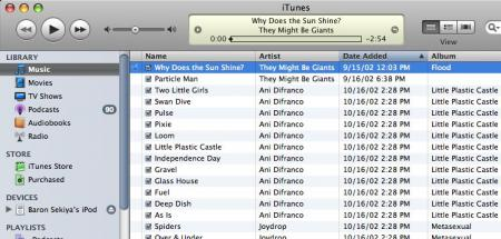 First iTunes Songs imported