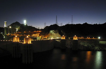 Hoover Dam at night during my drive back to Las Vegas, click on photo for a better image.