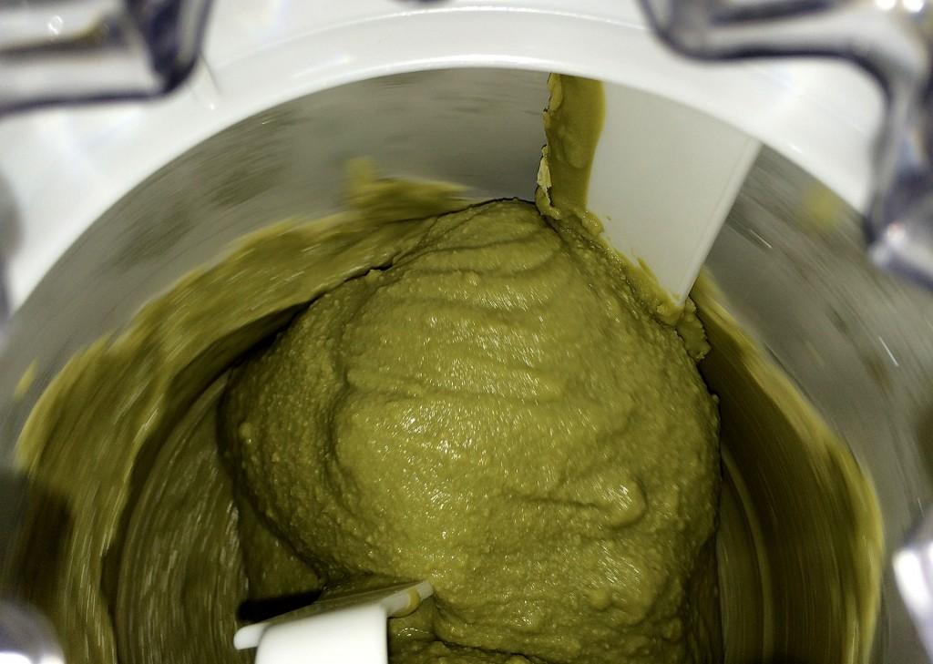 Bulletproof Green Tea Ice Cream being made in my ice cream maker.