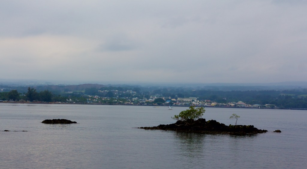Vog making for a grey day over Hilo Bay Monday, January 12, 2015.