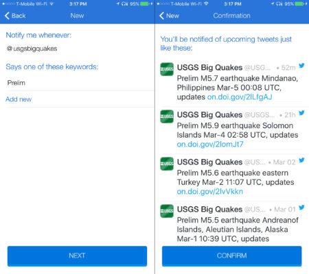 Quake tweets by USGS